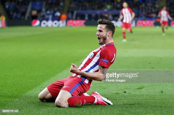 Saul Niguez of Atletico Madrid celebrates after scoring to make it 01 during the UEFA Champions League Quarter Final Second Leg match between...