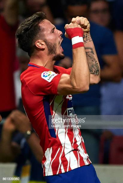 Saul Niguez of Atletico Madrid celebrates scoring his team's first goal during the La Liga match between Atletico Madrid and Barcelona at Estadio...