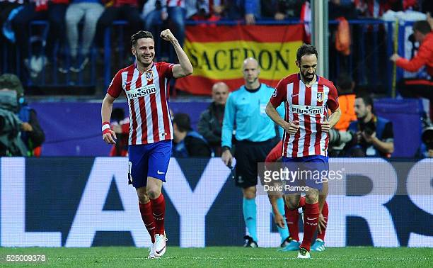 Saul Niguez of Atletico Madrid celebrates scoring the opening goal during the UEFA Champions League semi final first leg match between Club Atletico...
