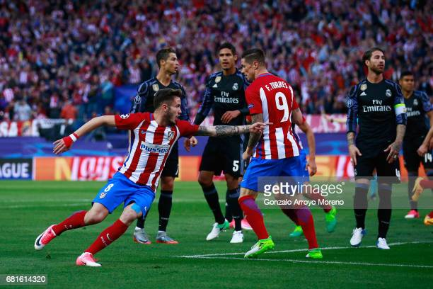 Saul Niguez of Atletico Madrid celebrates scoring the opening goal during the UEFA Champions League Semi Final second leg match between Club Atletico...