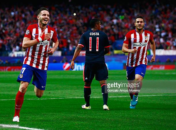 Saul Niguez of Atletico Madrid celebrates with Koke of Atletico Madrid as he scores their first goal during the UEFA Champions League semi final...