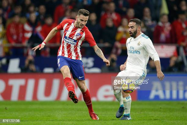 Saul Niguez of Atletico Madrid Dani Carvajal of Real Madrid during the Spanish Primera Division match between Atletico Madrid v Real Madrid at the...