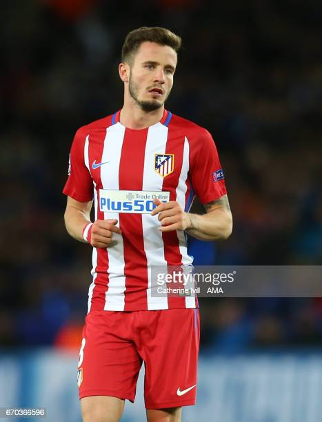 Saul Niguez of Atletico Madrid during the UEFA Champions League Quarter Final second leg match between Leicester City and Club Atletico de Madrid at...