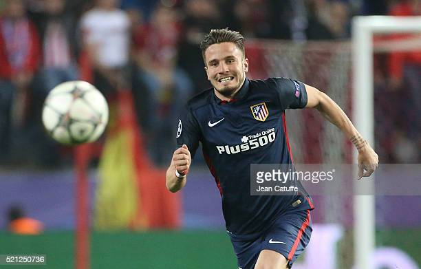 Saul Niguez of Atletico Madrid in action during the UEFA Champions League quarter final second leg match between Atletico Madrid and FC Barcelona at...