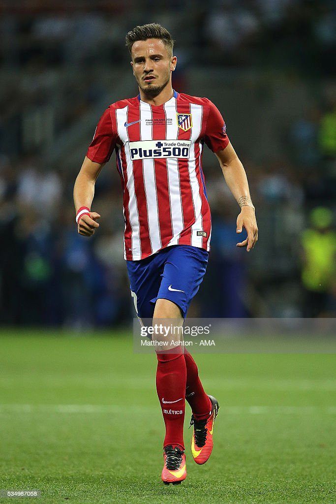 Saul Niguez of Atletico Madrid in action during the UEFA Champions League final match between Real Madrid and Club Atletico de Madrid at Stadio Giuseppe Meazza on May 28, 2016 in Milan, Italy.