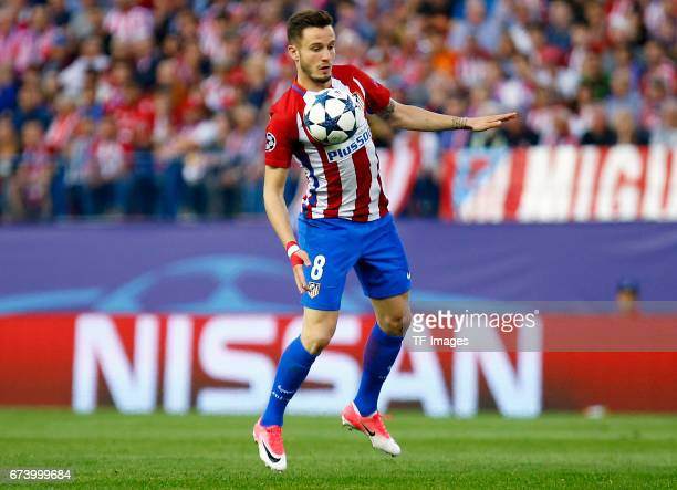 Saul Niguez of Atletico Madrid in action during the UEFA Champions League Quarter Final first leg match between Club Atletico de Madrid and Leicester...
