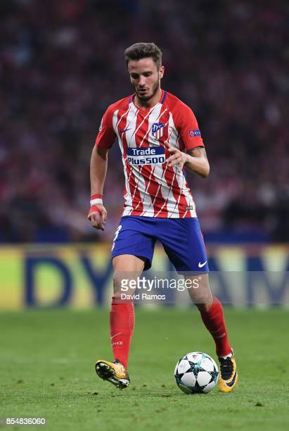 Saul Niguez of Atletico Madrid in action during the UEFA Champions League group C match between Atletico Madrid and Chelsea FC at Estadio Wanda...