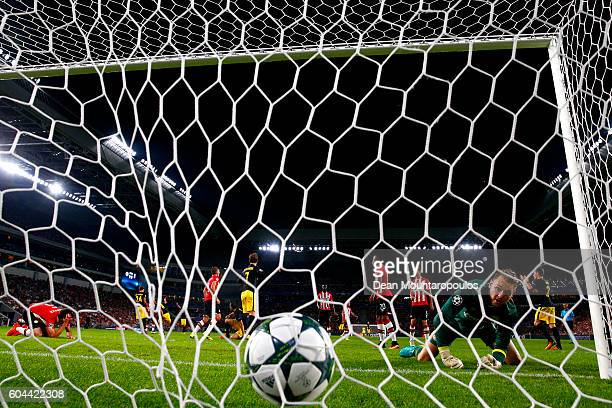 Saul Niguez of Atletico Madrid scores his sides first goal during the UEFA Champions League Group D match between PSV Eindhoven and Club Atletico de...