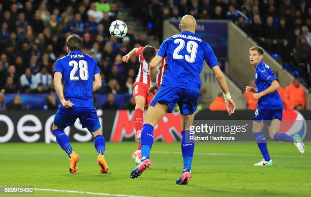 Saul Niguez of Atletico Madrid scores his sides first goal during the UEFA Champions League Quarter Final second leg match between Leicester City and...