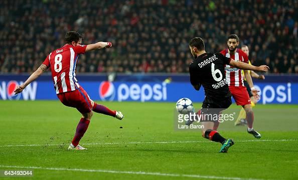 Saul Niguez of Atletico scores the opening goal during the UEFA Champions League Round of 16 first leg match between Bayer Leverkusen and Club...