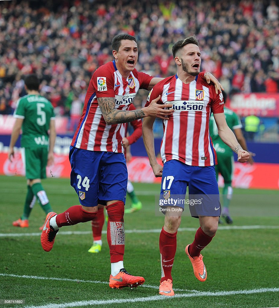 Saul Niguez (R) of Club Atletico de Madrid celebrates with Jose Maria Gimenez after scoring his team's 2nd goal during the La Liga match between Club Atletico de Madrid and SD Eibar at Vicente Calderon Stadium on February 6, 2016 in Madrid, Spain.