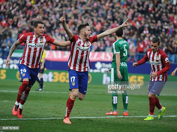Saul Niguez of Club Atletico de Madrid celebrates with Jose Maria Gimenez after scoring his team's 2nd goal during the La Liga match between Club...