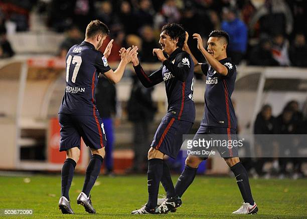 Saul Niguez of Club Atletico de Madrid celebrates with Stefan Savic after scoring his team's opening goal during the Copa del Rey Round of 16 First...