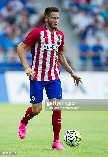 Saul Niguez of Club Atletico de Madrid controls the ball during a pre season friendly match between Real Oviedo and Club Atletico de Madrid at Carlos...