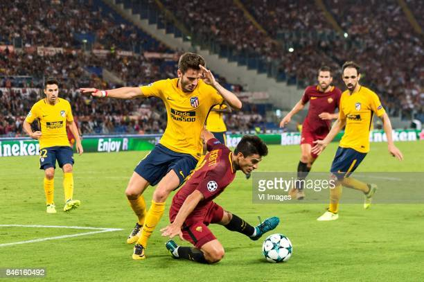 Saul Niguez of Club Atletico de Madrid Diego Perotti of AS Roma during the UEFA Champions League group C match match between AS Roma and Atletico...
