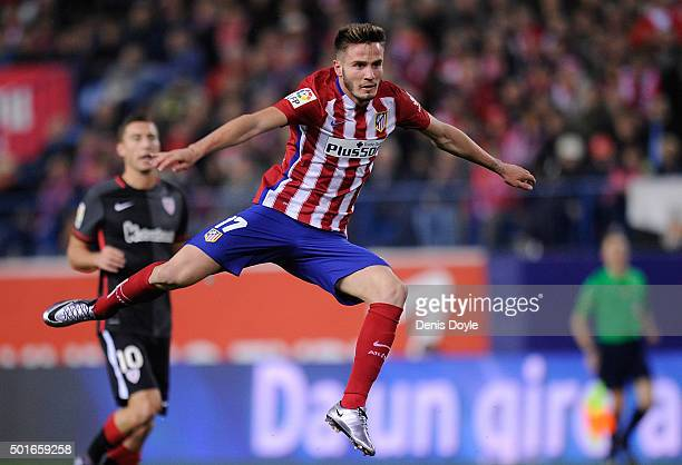 Saul Niguez of Club Atletico de Madrid in action during the La Liga match between Club Atletico de Madrid and Athletic Club at Vicente Calderon...