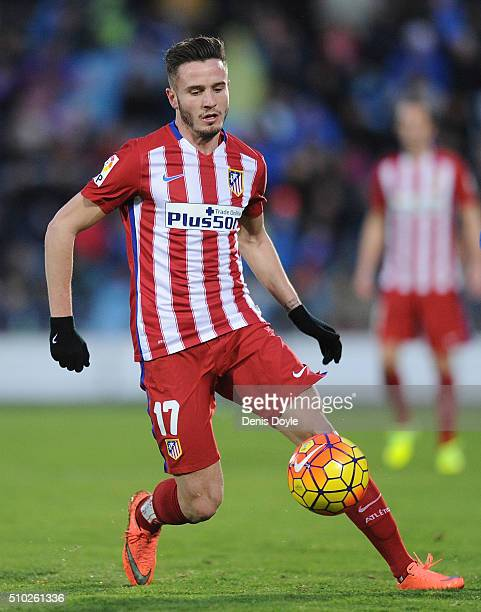 Saul Niguez of Club Atletico de Madrid in action during the La Liga match between Getafe CF and Club Atletico de Madrid at Coliseum Alfonso Perez on...