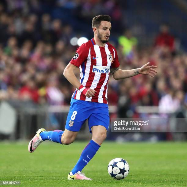 Saul Niguez of Club Atletico de Madrid in action during the UEFA Champions League Round of 16 second leg match between Club Atletico de Madrid and...