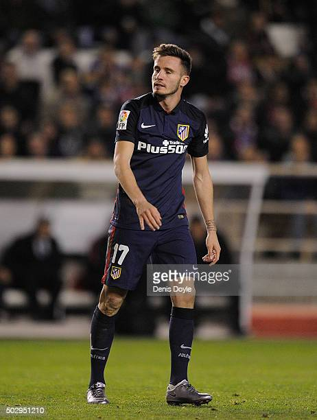 Saul Niguez of Club Atletico de Madrid looks on during the La Liga match between Rayo Vallecano and Club Atletico de Madrid at Estadio de Vallecas on...