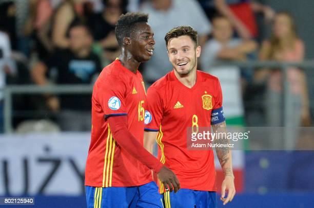 Saul Niguez of Spain and Inaki Williams of Spain celebrate after the UEFA European Under21 Championship Semi Final match between Spain and Italy at...