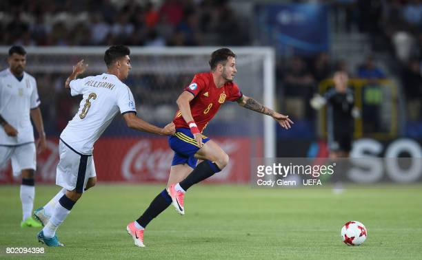 Saul Niguez of Spain and Lorenzo Pellegrini of Italy during their UEFA European Under21 Championship 2017 semifinal match on June 27 2017 in Krakow...