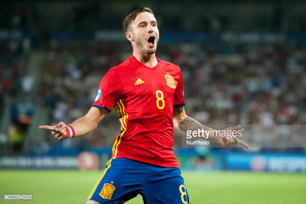 Saul Niguez of Spain celebrates after his first goal during the UEFA European Under21 Championship SemiFinal match between Spain and Italy at Krakow...