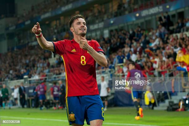 Saul Niguez of Spain celebrates after his hattrick during the UEFA European Under21 Championship SemiFinal match between Spain and Italy at Krakow...
