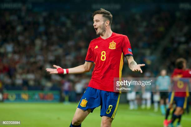Saul Niguez of Spain celebrates after his second goal during the UEFA European Under21 Championship SemiFinal match between Spain and Italy at Krakow...