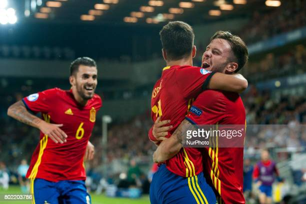 Saul Niguez of Spain celebrates his hattrick during the UEFA European Under21 Championship SemiFinal match between Spain and Italy at Krakow Stadium...