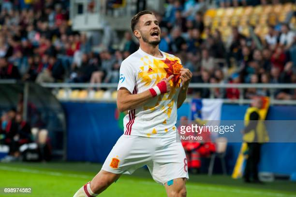 Saul Niguez of Spain celebrates his score during the UEFA European Under21 Championship Group B match between Portugal and Spain at Gdynia Stadium in...