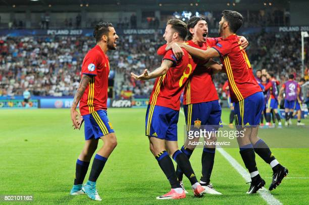 Saul Niguez of Spain celebrates scoring his sides first goal with his Spain team mates during the UEFA European Under21 Championship Semi Final match...