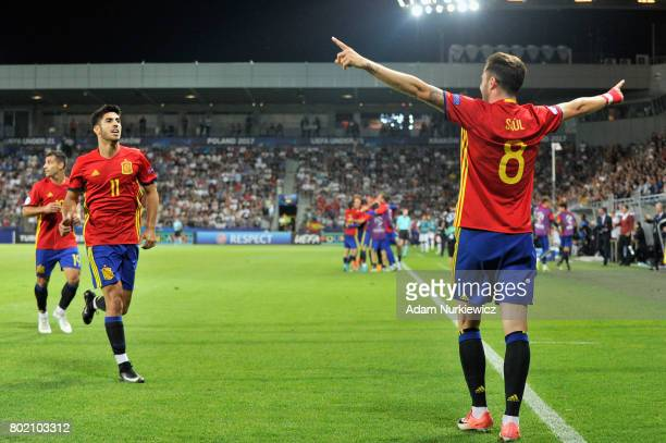 Saul Niguez of Spain celebrates scoring his sides second goal with his Spain team mates during the UEFA European Under21 Championship Semi Final...