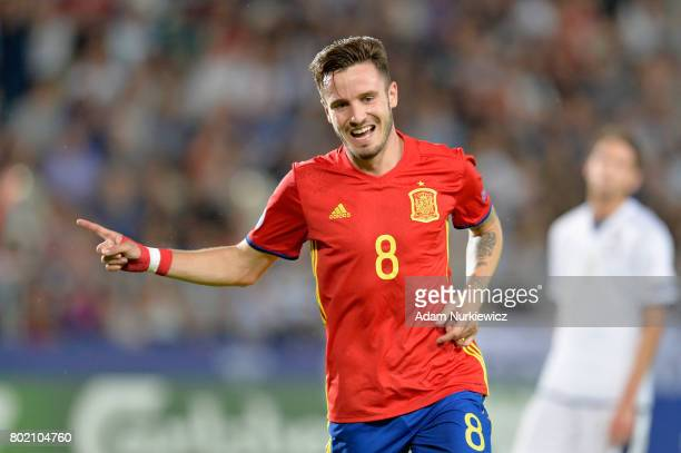 Saul Niguez of Spain celebrates scoring his sides third goal during the UEFA European Under21 Championship Semi Final match between Spain and Italy...