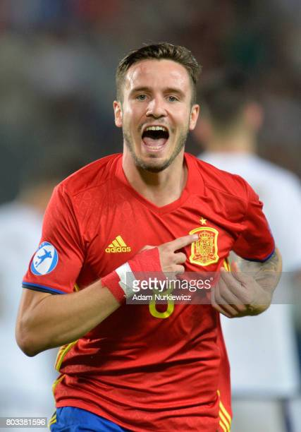 Saul Niguez of Spain celebrates scoring the opening goal during the UEFA European Under21 Championship Semi Final match between Spain and Italy at...