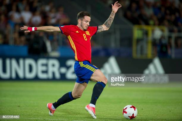 Saul Niguez of Spain controls the ball during the UEFA European Under21 Championship SemiFinal match between Spain and Italy at Krakow Stadium in...