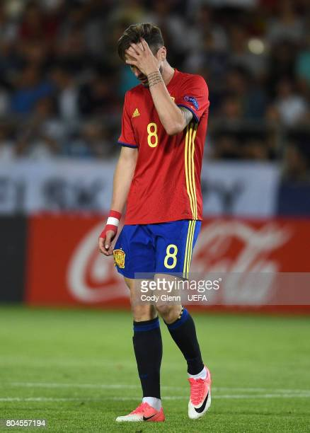 Saul Niguez of Spain reacts after a missed chance during their UEFA European Under21 Championship 2017 final match against Germany on June 30 2017 in...