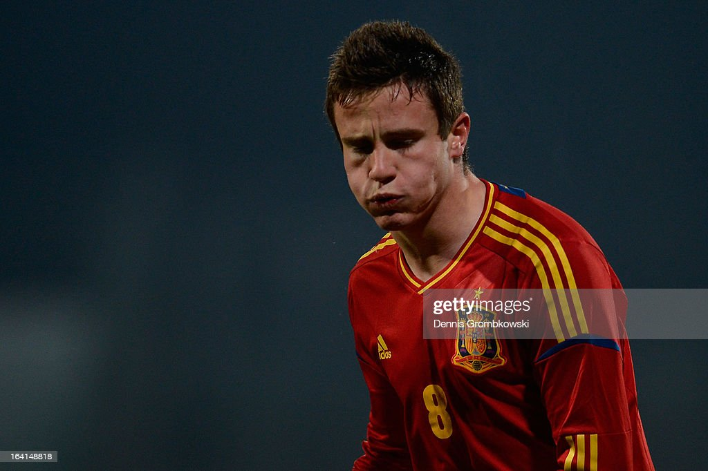 Saul Niguez of Spain reacts during the International Friendly match between U19 Germany and U19 Spain on March 20, 2013 in Duesseldorf, Germany.