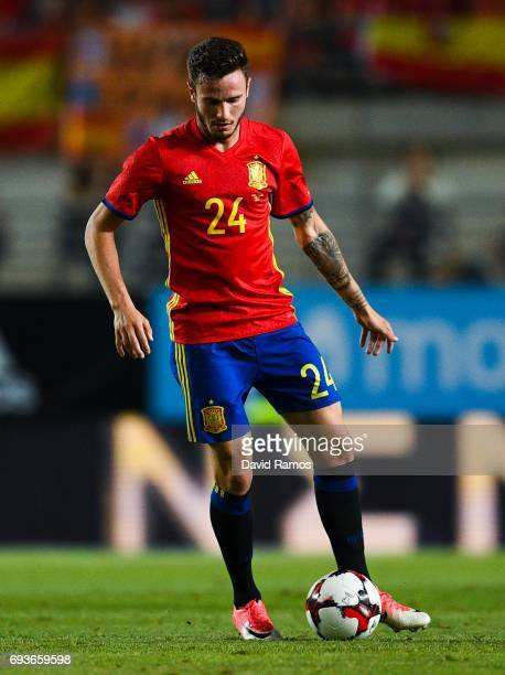 Saul Niguez of Spain runs with the ball during a friendly match between Spain and Colombia at La Nueva Condomina stadium on June 7 2017 in Murcia...