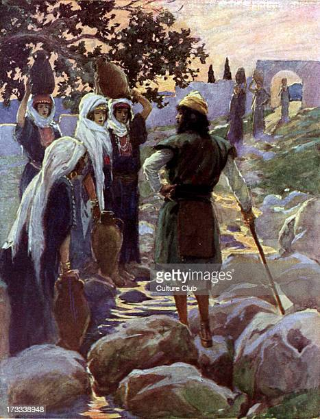 Saul questions the young maidens by J James Tissot Illustration to book of Samuel 411 'And as they went up the hill to the city they found young...