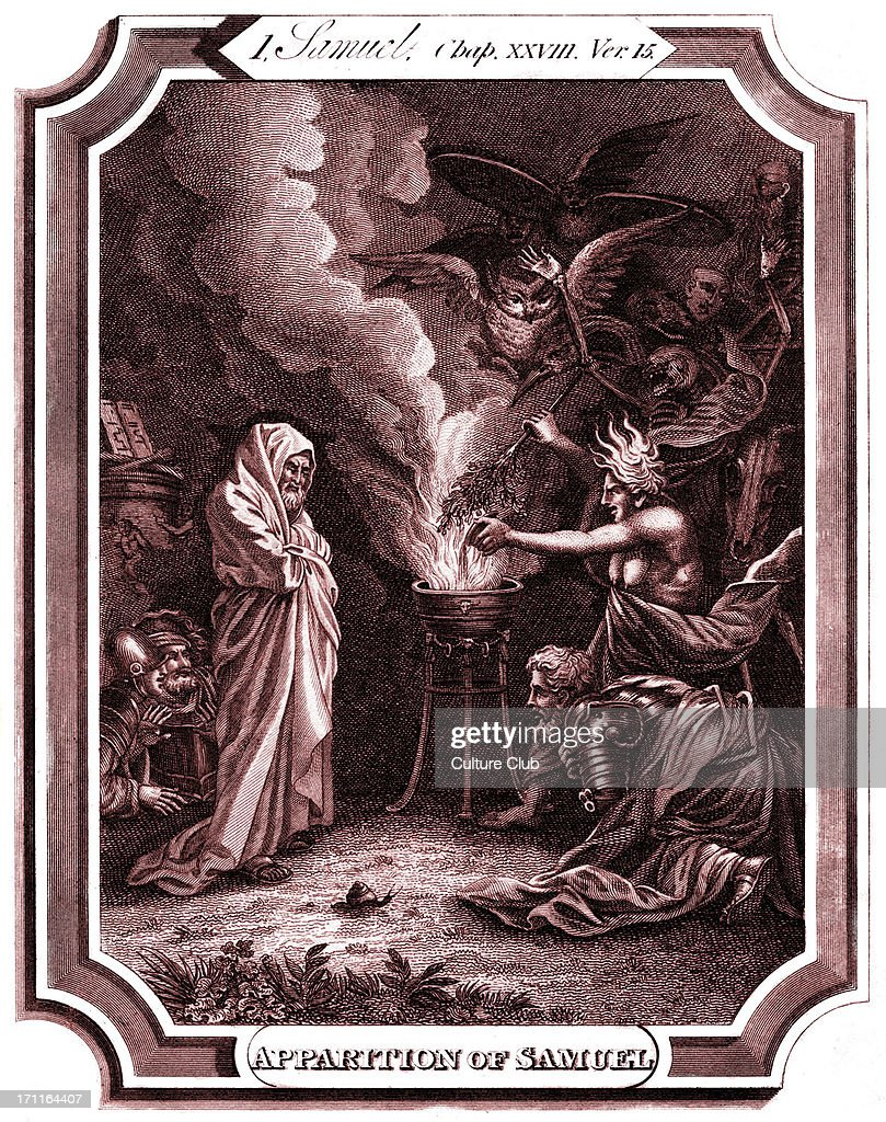 Saul visits the witch of Endor before the battle of Gilboa Samuel 1 Chap XXVIII verse 15 'And Samuel said to Saul Why hast thou disquieted me to...