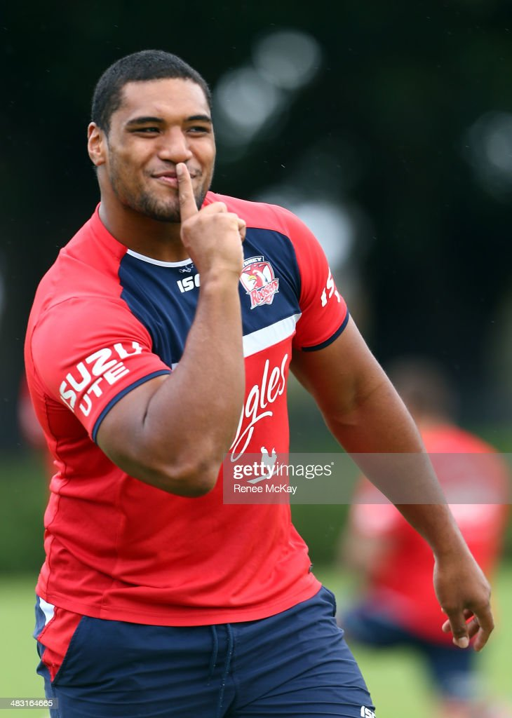 Saulala Houma wins a skill set during a Sydney Roosters NRL training session at Kippax Lake on April 7, 2014 in Sydney, Australia.