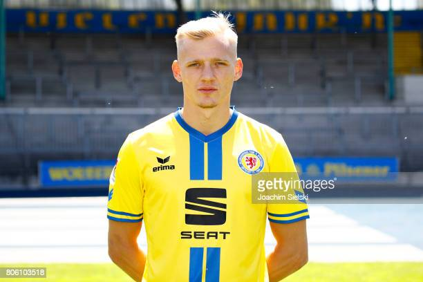 Saulo Decarli of Eintracht Braunschweig poses during the official team presentation of Eintracht Braunschweig at Eintracht Stadion on July 3 2017 in...