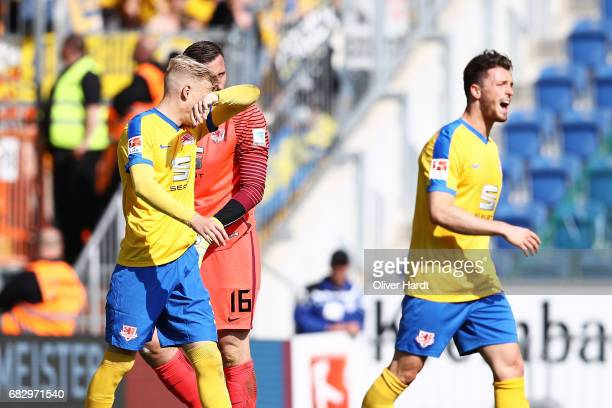 Saulo Igor Decarli Jasmin Fejzic and Quirin Moll of Braunschweig appears frustrated during the Second Bundesliga match between DSC Arminia Bielefeld...