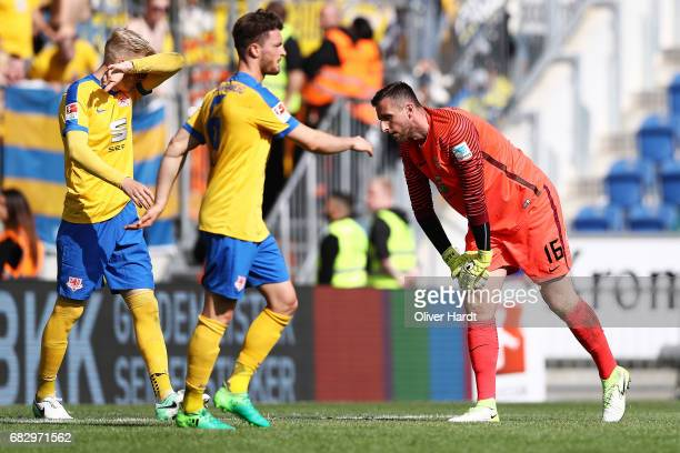 Saulo Igor DecarliQuirin Moll and Jasmin Fejzic of Braunschweig appears frustrated during the Second Bundesliga match between DSC Arminia Bielefeld...
