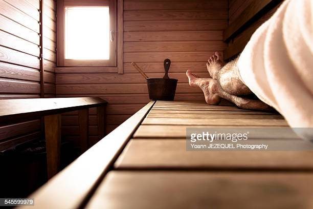 Sauna, relaxing moment
