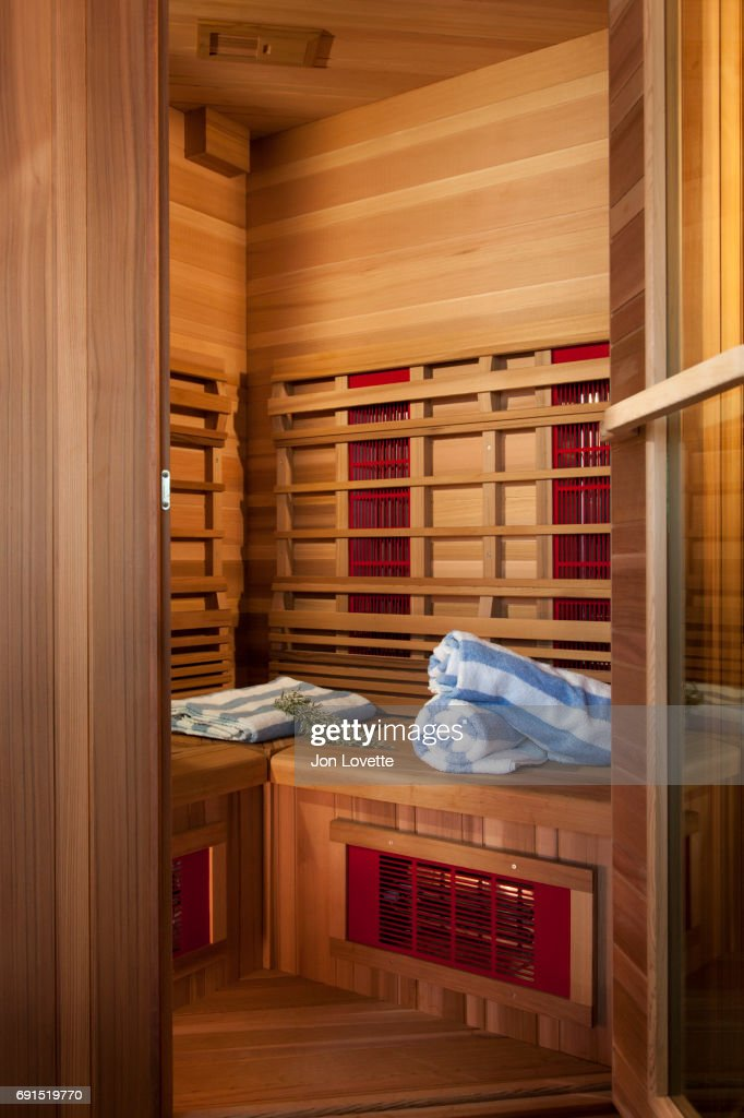 Sauna With Towels And Herbs
