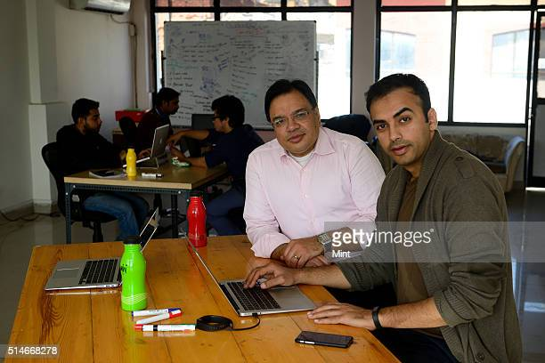 Saurabh Arora Founder CEO with Rishi Srivastava Sales Business Development Head of Airwoot poses for a profile shoot on January 28 2015 in New Delhi...