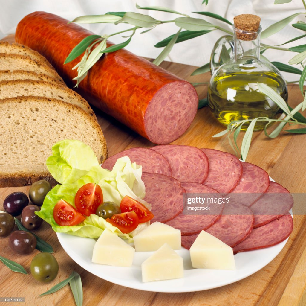 Sausage and Cheese on Plate : Stock Photo