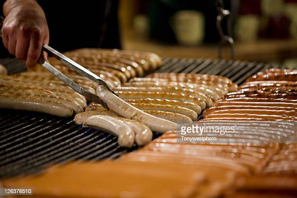 Sausages being grilled at German Christmas Market