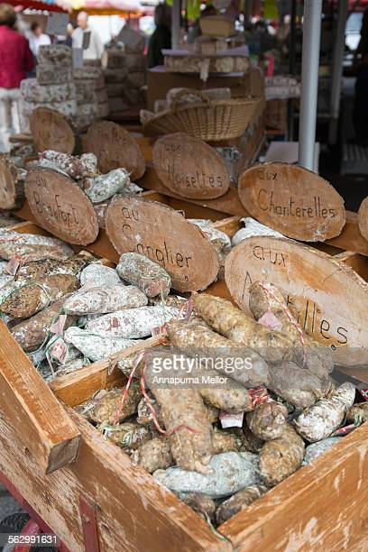 Sausages in the Les Gets market, French Alps